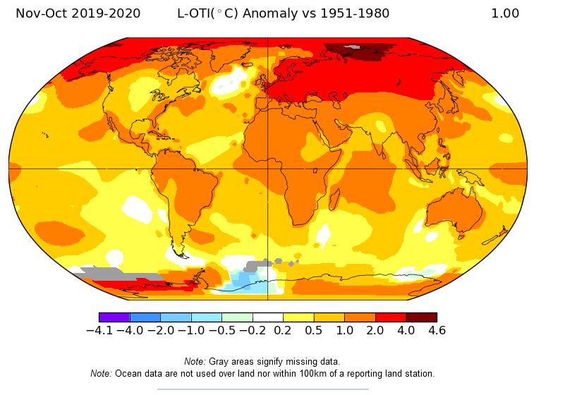 Nov-Oct 2019-2020 L-OTI(°C) Anomaly vs 1954-1980. Global map.