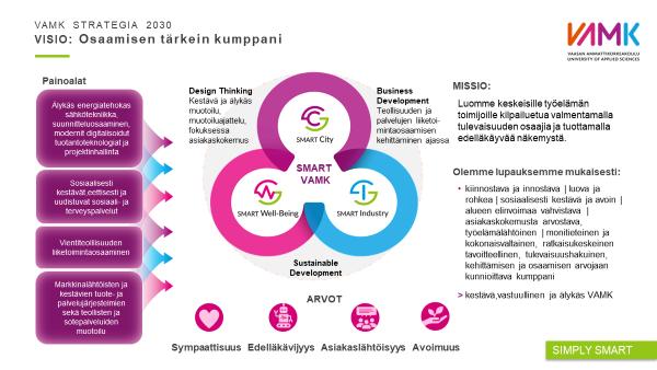 VAMKIn ja kaikkien amkien TKI-toiminnan lähtökohtia, joihin vaikuttavat globaalit ja EU-tason , kansalliset ja alueelliset strategiat ja ohjelmat sekä taustalla megatrendit.