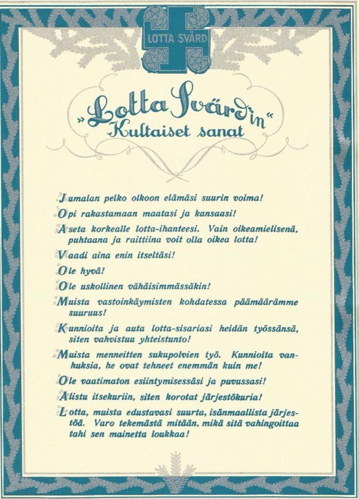 Lotta Svärdin kultaiset sanat -seinätaulu.