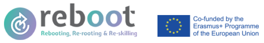 Two logos. First: Reboot, rebooting, re-rooting & re-skilling. Second: Co-funded by the Erasmus+ Programme of the European Union.